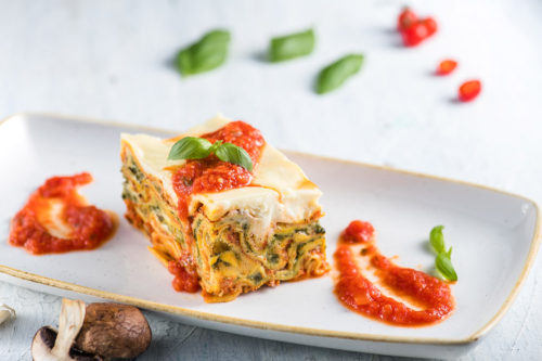 Lasagna cu ciuperci și spanac